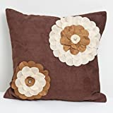 A S Traders Flower Circle Cushion Cover Brown Velvet Base with Dupion laser Cutted flower on it (40 Cm x 40 Cm...