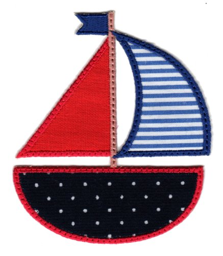 Patchmommy Iron On Applique Patch, Sailboat - Kids Baby front-3526
