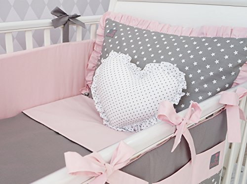 NEW-EXCLUSIVE-LUXURY-BABY-GIRL-BEDDING-SET-powder-pink-grey-stars-DUVET-PILLOW-DUVET-COVER-PILLOWCASE-BUMPER-COT-TIDY-DECORATIVE-CUSHION-IN-THE-SHAPE-OF-HEART-to-FIT-COT-OR-COT-BED-please-see-dimensio