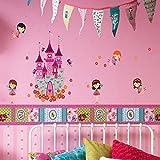 WalplusAngels Castle Princess Wall Stickers , Home Decoration, 100cm x 30cm, PVC ,Removable, Multi-Color