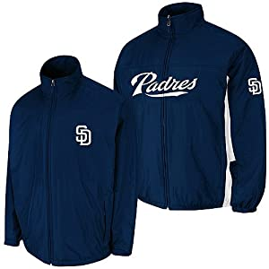 San Diego Padres Navy Authentic Triple Climate 3-In-1 On-Field Jacket by Majestic by Majestic