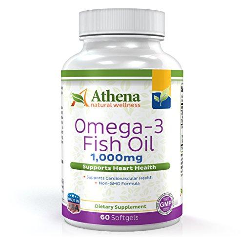 Athena - Omega 3 Fish Oil 1,000mg Fatty Acids EPA / DHA - 60 Liquid Softgel Capsules (Omega 3 Barry Sears compare prices)