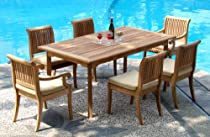 "Big Sale Best Cheap Deals New 7 Pc Luxurious Grade-A Teak Dining Set - 94"" Double Extension Rectangle Table & 6 Giva Chairs (4 Armless & 2 Arm / Captain)"