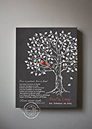 MuralMax - Custom Family Tree & Lovebirds, Stretched Canvas Wall Art, Make Your Wedding & Anniversary Gifts Memorable, Unique Decor, Color Gray # 1 - 30-DAY - Size - 12x16