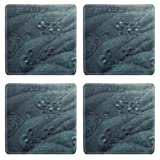 Abstract Faded Blue Waves Textures Square Coaster (4 Piece) Set Fabric Rubber 5 1/8 Inch (130mm) Size Coaster Cup Mug Can Water Bottle Drink Coasters Stain Resistance Collector Kit Kitchen Table Top Desk
