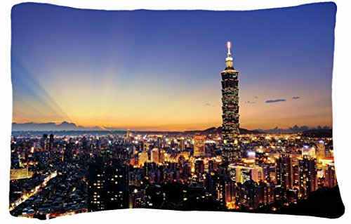 Microfiber Peach Queen Size Decorative Pillowcase -City Skyscrapers City Night Images Lights front-794546
