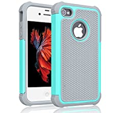 buy Iphone 4S Case ,[Corner Protection] Protective Case Detachable Defender Thin Protective Anti-Dirt Scratch Resistant Hard Soft Heavy Duty Rubber Bumper Cover For Iphone 4 4S(Gray/Turquoise)