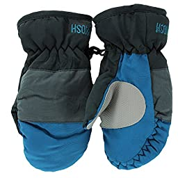 OshKosh Boys Ski Mittens Warm Fleece Lined for Winter Snow 12-24M Grey / Indigo