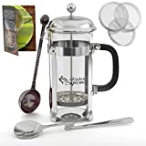 French Press Coffee & Tea Maker Complete Bundle | 8-Cups, 34 Oz | Best Coffee Press Pot with Stainless Steel & Double German Glass