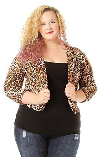 Pinkclubwear Plus Size Leopard Print Crop Cardigan-Leopard-1X