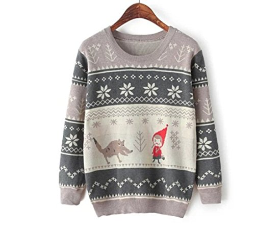 Vshop-2000 Women'S Snowflake Little Red Riding Ugly Sweater Jumper