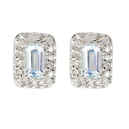 9ct White Gold Aquamarine & Diamond Rectangular Stud Earrings