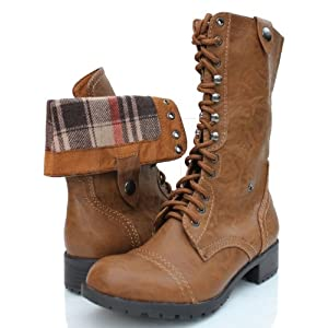 Oralee Tan PU-Leather Foldable Military Combat Boots Laced Up Women Soda Shoes-5.5 Tan-