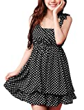 Allegra K Women Bowknot Decor Elastic Waist Tiered Flouncing Hem Dots Mini Dress