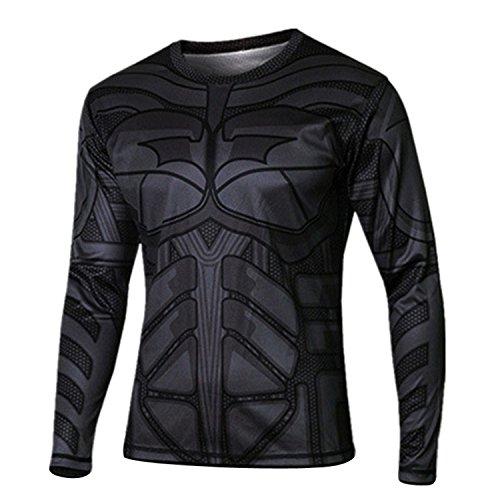 Marvel Superhero Avenger Captain America T shirt Men Armour Base Long Sleeve Under Top Sport Fitness tshirt homme (L)