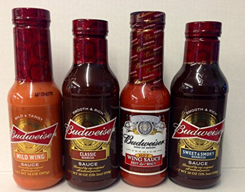 Budweiser Sauce Variety Gift Set, Sweet And Smoky Bbq, Classic Bbq, Mild Wing Sauce, And Hot And Spice Wing Sauce