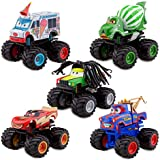 Disney / Pixar Cars Exclusive Monster Truck Mater Plastic Figurine Set Tormentor, Frightening McMean, IScreamer, Paddy O Concrete Rastacarian
