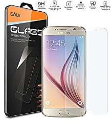 S6 Screen Protector, Galaxy S6 Glass screen protector, E LV Samsung Galaxy S6 ANTI-SHATTER Tempered Glass Screen Protector Scratch Free Ultra Clear HD Screen Guard for Samsung Galaxy S6.