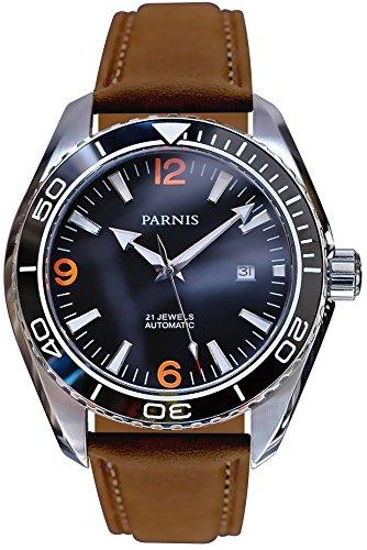 PARNIS Automatikuhr Modell 3209/MIYOTA Herrenuhr Ø 45mm Edelstahl Keramik-Drehlünette Saphirglas verschraubte Krone 5BAR wasserdicht Kalbs-Lederarmband Automatik-Uhrwerk von Miyota