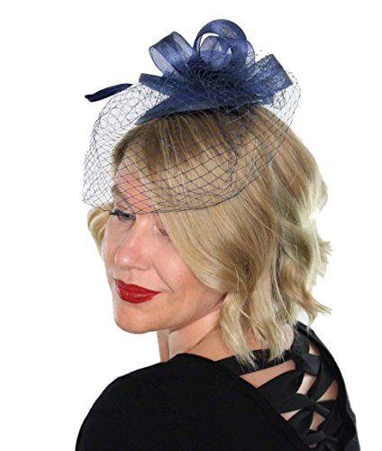 Classic Womens Fascinator Hat with Veil and Feathers Tea Party Derby Wedding Accessory (Navy Blue)