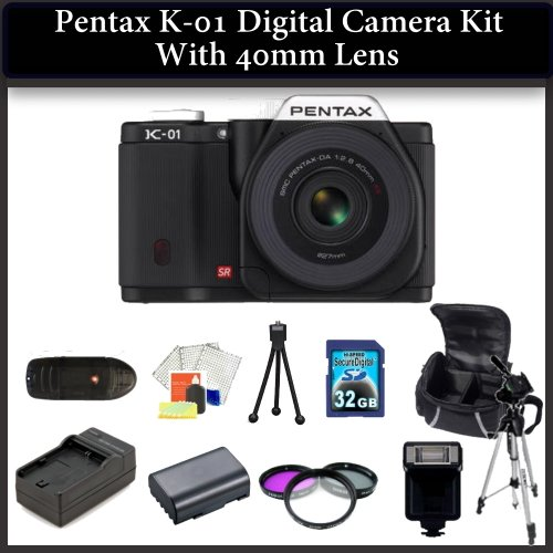 Pentax K-01 Digital Camera Kit with 40mm Lens. Package Includes: Pentax K01 with 40mm Lens(Black), 3 Piece Filter Kit(UV-CPL-FLD), 32GB Memory Card, Memory Card Reader, 2 Extended Life Replacement Batteries, Rapid Travel Charger, 50