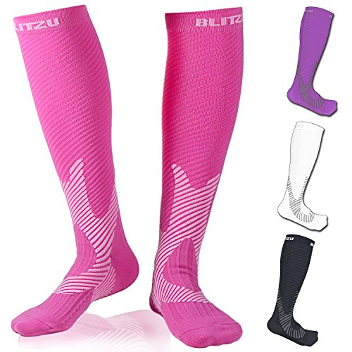 Compression Socks Blitzu Power+ Men and Women Performance Running Socks. True Graduated Compression leg Support. Improves Circulation, Aids Faster Muscle Recovery. Pink L/XL (Pink Cycling Shoes compare prices)
