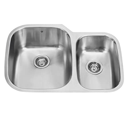 VIGO 30 inch Undermount 70/30 Double Bowl 18 Gauge Stainless Steel Kitchen Sink