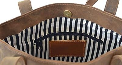 "Gusti Cuir studio ""Abigail"" cabas en cuir sac bandoulière en cuir sac à main en cuir sac en cuir véritable besace en cuir vintage moderne pratique tendance retro femmes filles marron 2H45-26-54"