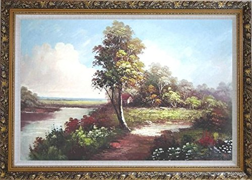 Along the River Large Oil Painting, with Ornate Dark Gold Wood Frame 30x42 Inch the dark river