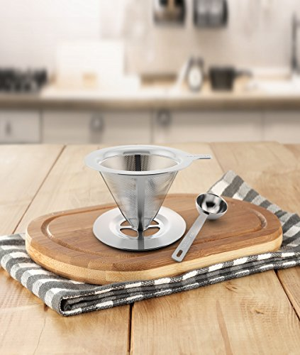 Clever Pour-Over Coffee Dripper by IKA KITCHEN - Stainless Steel Cone Brewer w/ Built-In Stand ...
