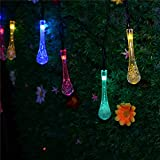 Solar Powered String Lights 5M 20 LED Water drop styled for Outdoor Garden Fence Patio Christmas Party Wedding Decoration. (Multi Color)
