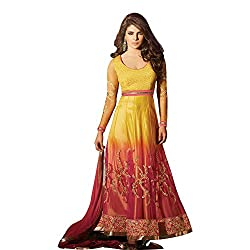 Traditional 2 Trendy Yellow Net Anarkali Unstitched Suit