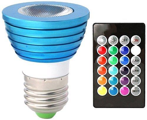 E27 3W RGB LED Lampe Glühbirne Licht Farbwechsel Glühlampe Dekoration Multiple 16 x Farbe mit 24key Fernbedienung (AC 85 - 265V, 50 X 60mm) GTlight