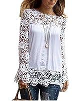 Zeagoo Fashion Women's Long Sleeve Lace Crochet Shirt Blouse Tops