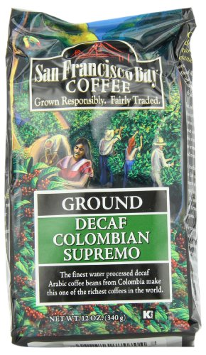San Francisco Bay Coffee Ground Decaf Colombian Supremo Coffee, 12-Ounce Bag