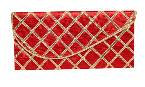 CrazyDeals Fancy Satin Sagan Money Gift Envelope with Golden Lace RED