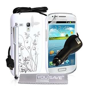 Yousave Accessories SA-EA01-Z961CP Pack de Housse + Stylet + Chargeur de Voiture + Film de Protection d'Ecran pour Samsung Galaxy S3 Mini