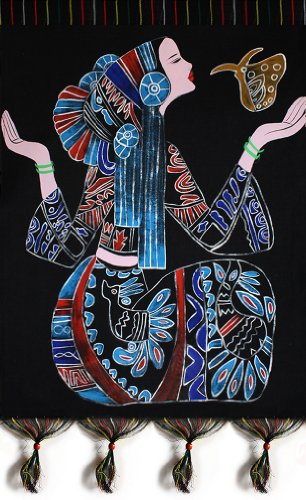 Chinese Batik Folk Tribal Art Painting 53 x 75cm Wall Hanging Home Room Decor #103