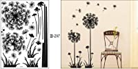 "Black Dandelion Flower Plant Tree Large Removable Wall Decor Decal Sticker 57"" X 29"" from Modern House"