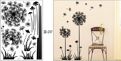 "Black Dandelion Flower Plant Tree Large Removable Wall Decor Decal Sticker 57"" X 29"""