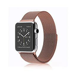 Apple Watch 38mm Band, Infiland Milanese Loop Stainless Steel Bracelet Smart Watch Strap for Apple Watch 38mm All Models with Fully Magnetic Closure Clasp - Rose Gold