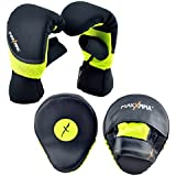 MaxxMMA Boxing MMA Training Kit, Neon Yellow Color - Pro Punch Mitts + Washable Neoprene Bag Gloves