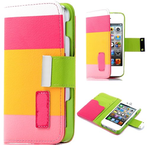 Mylife Bright Pink And Lime Green - Textured Koskin Faux Leather (Lanyard Strap + Card And Id Holder + Magnetic Detachable Closing) Slim Wallet For Iphone 4/4S (4G) 4Th Generation Touch Phone (External Rugged Synthetic Leather With Magnetic Clip + Interna