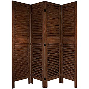 Oriental Furniture Simple Louvered Door Room Divider, 5.5-Feet Classic Venetian Blind Shutter Design Floor Screen Partition, 4 Panels Brown