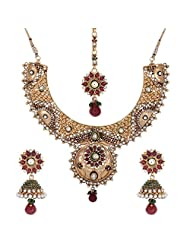 Shahenaz Jewellers 24 Ct Gold Plated Bridal Jewellery Set With CZ And Marquis Stones For Women - B00R2IOGHG