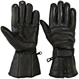 Mens MOTORBIKE GLOVES Cold Weather Waterproof Motorcycle Riding Glove GENUINE LEATHER Black (L, Black)