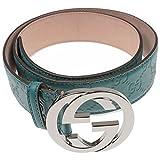 Gucci Men's Unisex Belt with Interlocking G Buckle 114984 Green Leather Guccissima 36 (36)