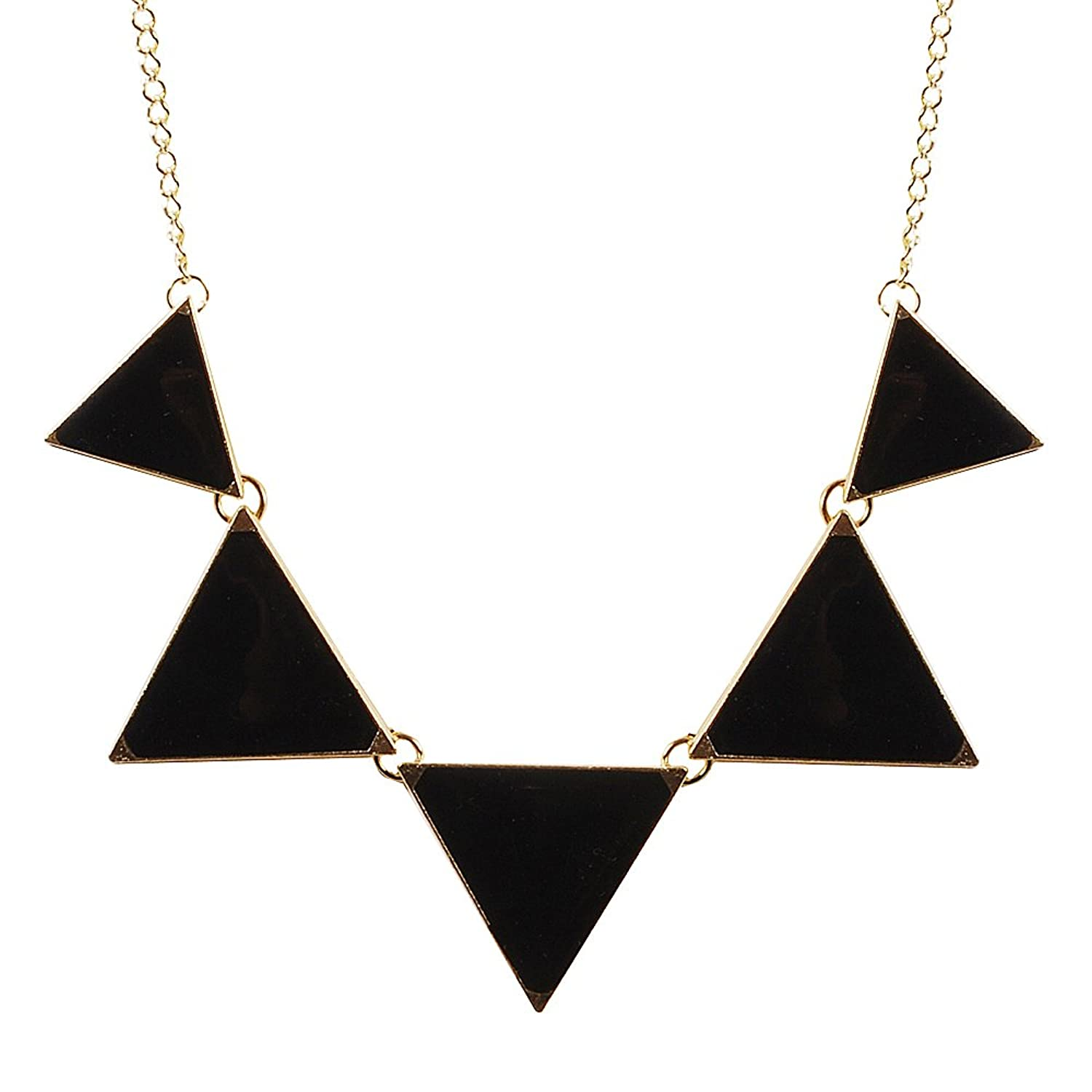 Black Necklace Triangle Necklace Bib Necklace Statement Necklace (Fn0568 - Black)