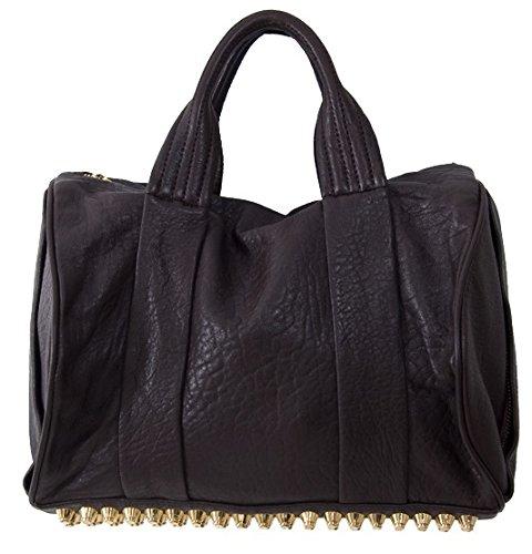 Lush Leather Medium Lambskin Edgy Studded Duffle Coffee Brown Bag
