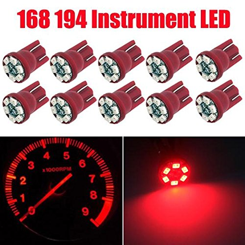 Partsam 10PCS T10 PC168 Wedge 6-SMD Instrument Panel LED Light Dashboard Gauge Cluster Indicator Lamp Bulb with 10PCS Twist Lock Base Socket, Red (Tahoe Dash Board compare prices)